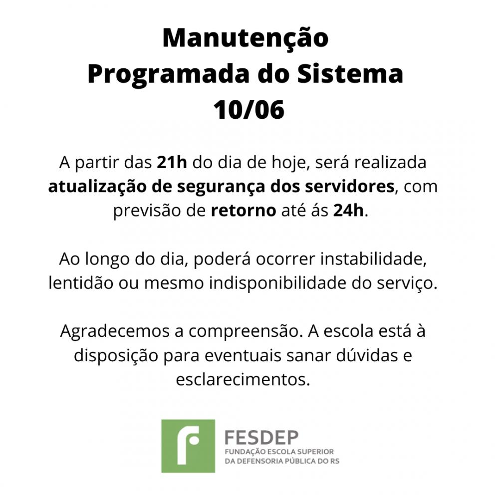Manutencao Programada do Sistema 10 06 2